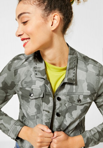 Street One - Denimjacke mit Camouflage in Green Camou Print
