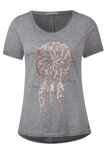 CECIL - Dreamcatcher Shirt Graphit Light Grey