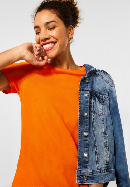 Street One - Basic T-Shirt in Shiny Tangerine