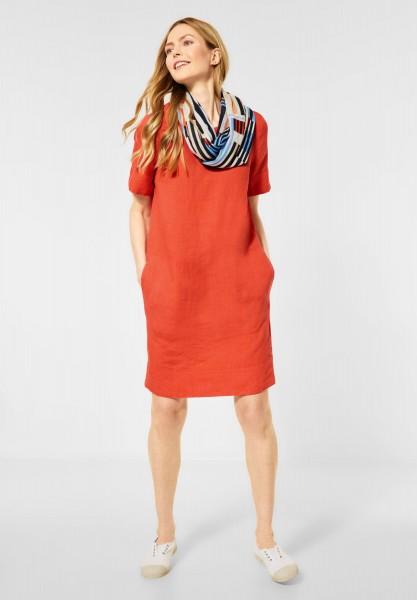 CECIL - Leinen Kleid in Unifarbe in Gerbera Orange