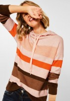 CECIL - Colorblock Hoodie Pullover in Highland Rose Melange
