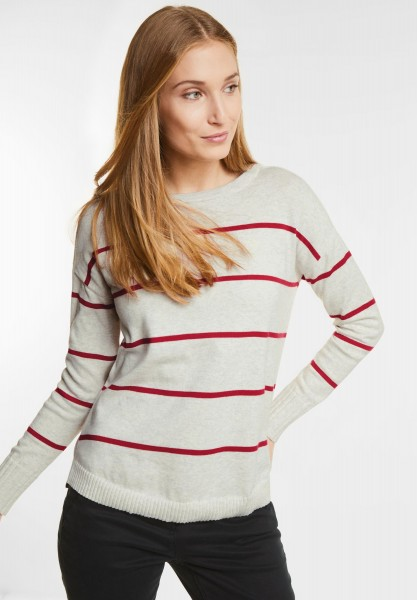 CECIL - Lockerer Streifen Pullover in Off White Melange
