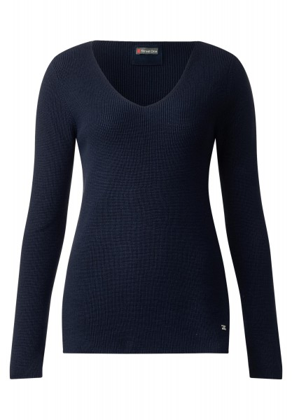 Street One - Pullover mit V-Neck Juna in Night Blue