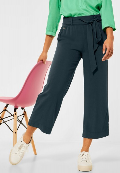 Street One - Loose Fit Hose mit Wide Legs in Spruce Green