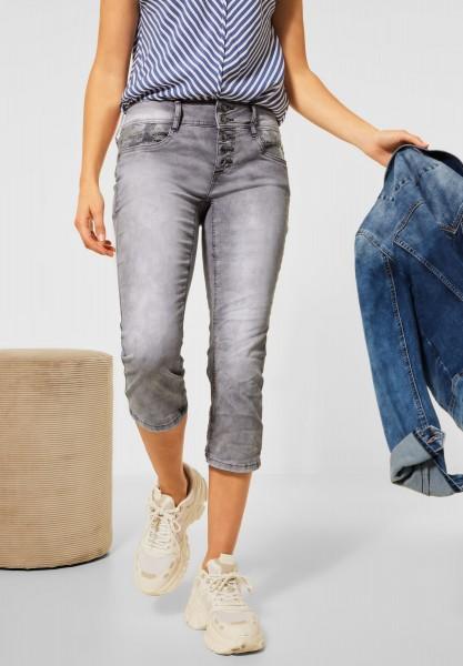 Street One - Casual Fit Hose in 3/4 Länge in Grey Denim Random