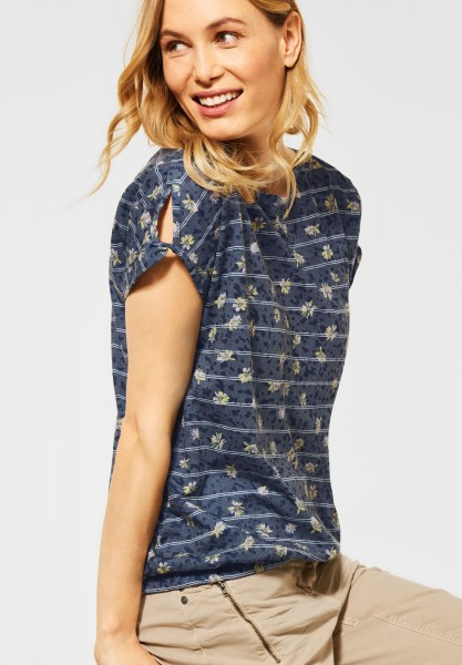 CECIL - T-Shirt mit Burn-Out Optik in Deep Blue