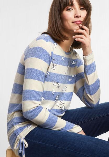 CECIL - Streifen Shirt mit Vögeln in Cornflower Blue Melange