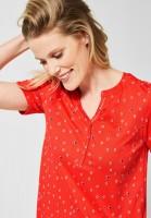 CECIL - Shirt mit Minimal Muster in Tangerine Orange