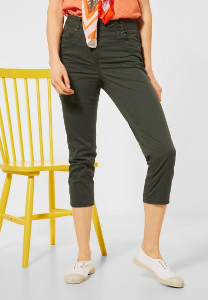 CECIL - Slim Fit Hose in High Waist in Utility Olive