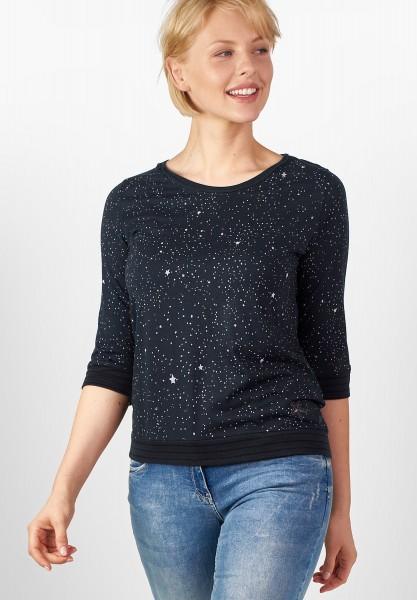 CECIL - Starprint-Shirt mit Bündchen Deep Blue