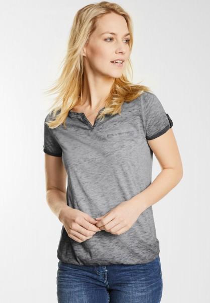 CECIL - Washed Look T-Shirt Anni in Graphit Light Grey