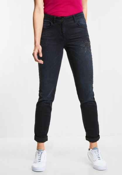 CECIL - Loose Fit Denim Scarlett in Blue/Black Used Wash