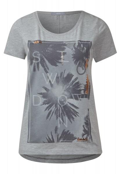 CECIL - Melangeshirt mit Palmenprint Sportive Grey Melange