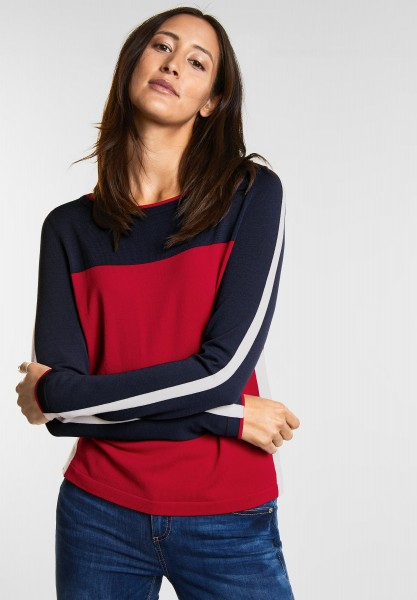 Street One - Color Blocking Pulli in Pure Red