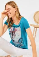 CECIL - T-Shirt mit Partprint in Cool Lagoon Blue