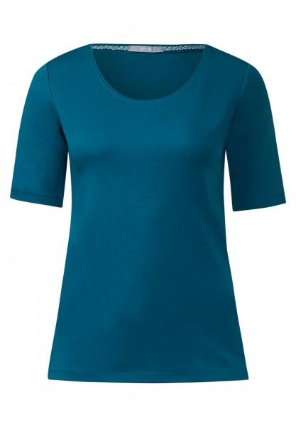 CECIL - Basic-Halbarmshirt Lena Celestial Blue