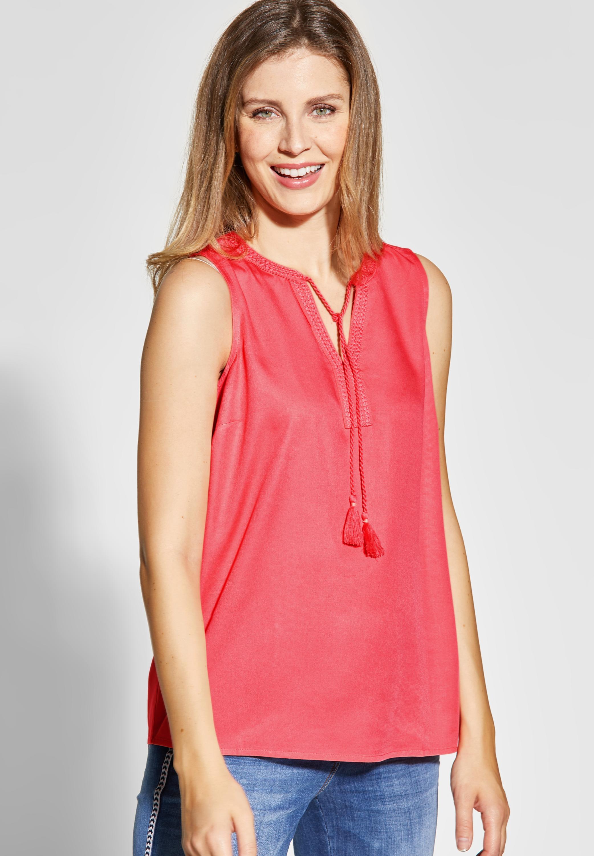 buy popular 2c8f9 cfdd3 CECIL - Ärmellose Tunika-Style Bluse in Neo Coralline Red