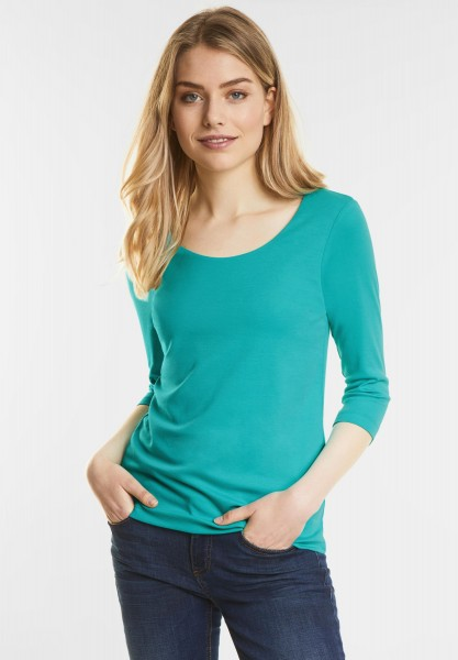 Street One - Schmales Basic Shirt Pania in Sunny Aqua