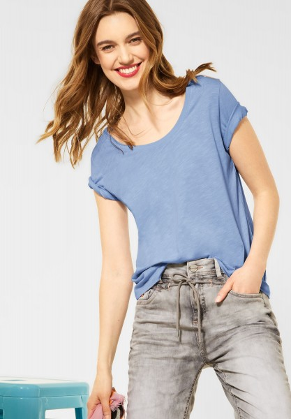 Street One - Basic T-Shirt in Unifarbe in Mid Sunny Blue