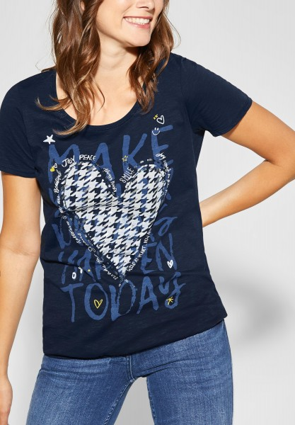 CECIL - T-Shirt mit Frontprint in Deep Blue
