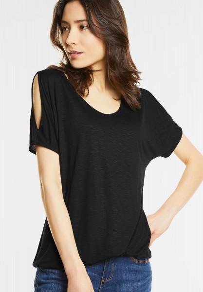 Street One - V-Shirt mit Armschlitz Naja in Black