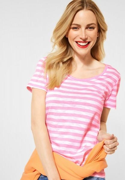 Street One - T-Shirt im Streifen Muster in Pearl Rose