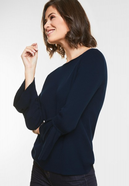 Street One Pullover mit Volants in Deep Blue