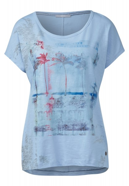 CECIL - T-Shirt mit Beachprint Arctic Blue