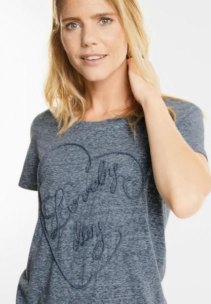 CECIL - Melange Herz Shirt in Deep Blue Melange