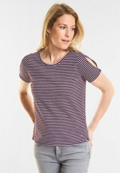 CECIL - Cold Shoulder Streifen Shirt in Deep Loganberry