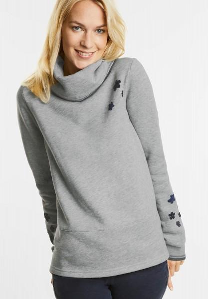 CECIL - Sweatshirt mit Samtblüten in Middle Grey Melange