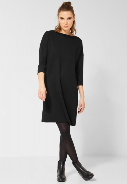Street One - Sweatkleid mit Lochmuster in Black