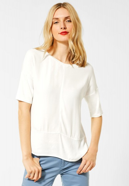 Street One - Shirt mit Materialmix in Off White