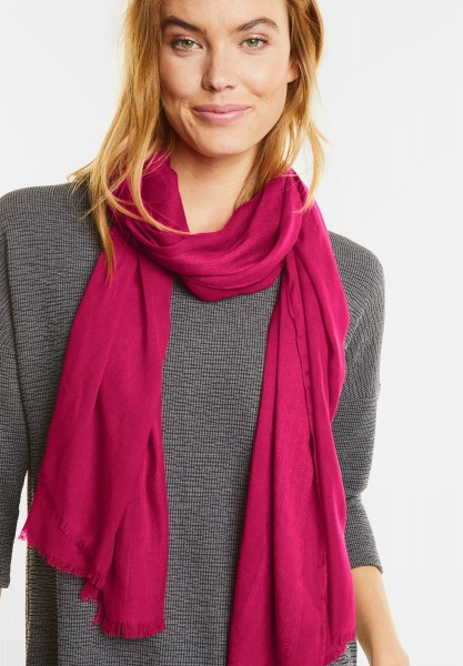 Street One - Schal mit Jacquard Streifen in Funky Pink
