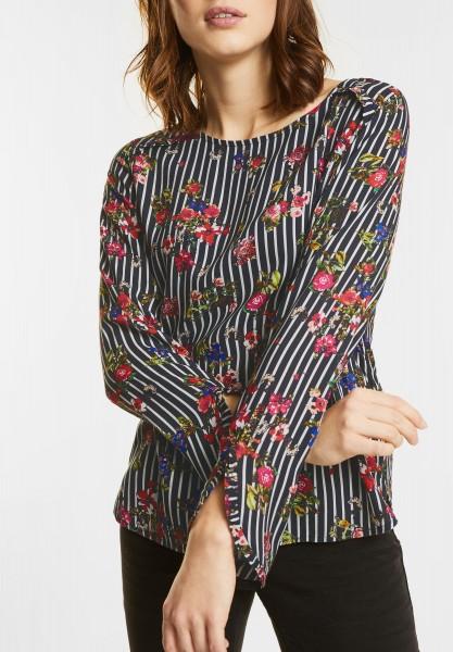 Street One - Bluse mit Blüten und Rüschen in Black