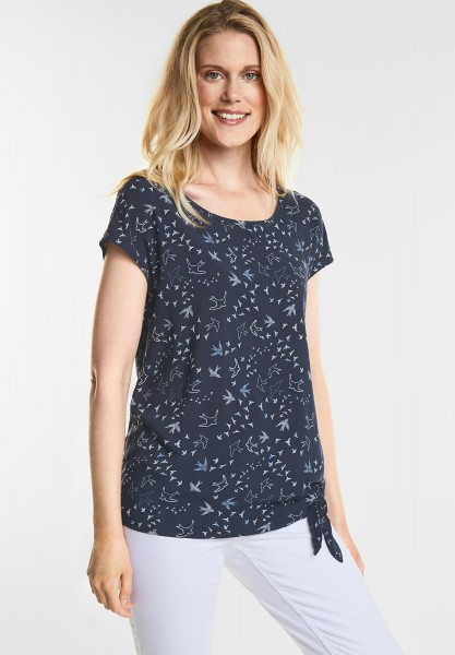 CECIL - Vogelprint Bluse Talea in Deep Blue