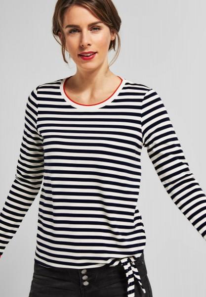 Street One - Streifen Shirt mit Knoten in Deep Blue