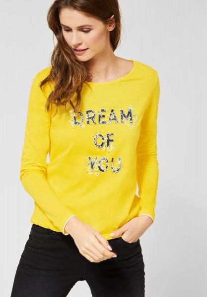 CECIL - Shirt mit Wording-Print in Fresh Yellow