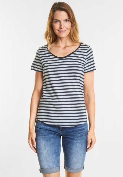 Street One - Basic Streifenshirt Gerda in Deep Blue