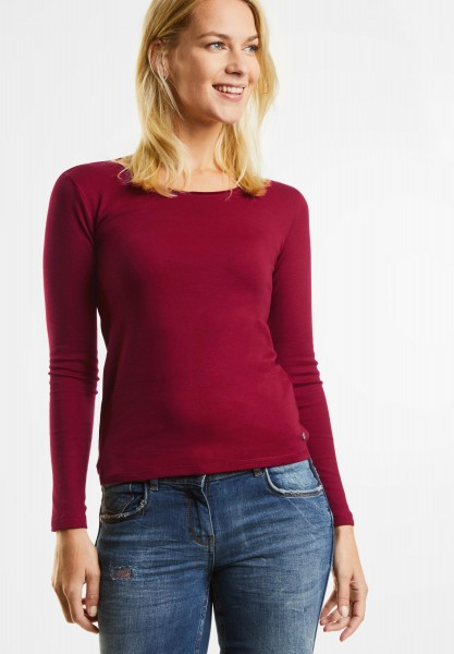 CECIL - Basic Langarmshirt Pia in Cranberry Red