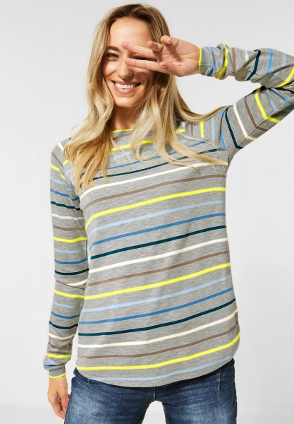 CECIL - Raglan-Shirt mit Streifen in Cool Silver Melange