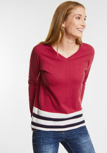 CECIL - Sportiver V-Neck Pullover in Salsa Red