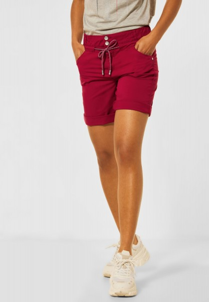 Street One - Loose Fit Shorts in Unifarbe in Gentle Red
