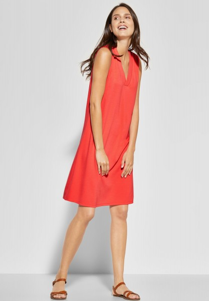Street One - Kleid mit V-Neck in Bright Coral