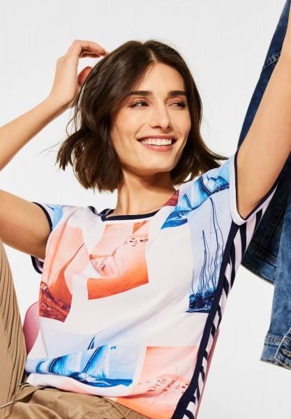 CECIL - T-Shirt mit Printmix in Pure Off White