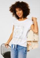 Street One - T-Shirt mit Knoten Detail in White