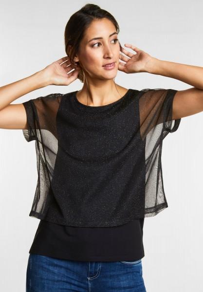 Street One - Lässiges Glitzer Mesh-Shirt in Black