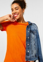 Street One - Basic T-Shirt in Shiny Tangerine