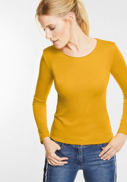 CECIL - Basic Langarmshirt Pia in Golden Lemonade