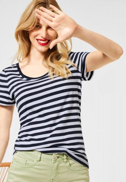 Street One - T-Shirt im Streifen Muster in Deep Blue